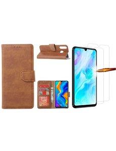 Ntech Huawei P30 Lite New Edition Hoesje / P30 Lite portemonnee hoesje Bruin / book case met 2 pack screenprotector