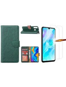 Ntech Huawei P30 Lite New Edition Hoesje / P30 Lite portemonnee hoesje Groen / book case met 2 pack screenprotector
