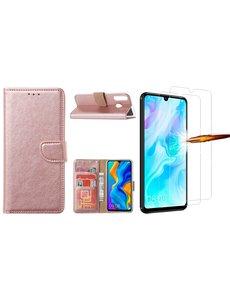 Ntech Huawei P30 Lite New Edition Hoesje / P30 Lite portemonnee hoesje Rose Goud / book case met 2 pack screenprotector