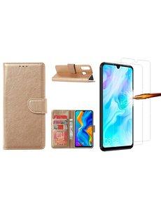 Ntech Huawei P30 Lite New Edition Hoesje / P30 Lite portemonnee hoesje Goud / book case met 2 pack screenprotector