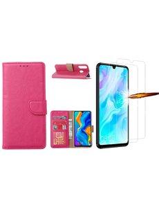 Ntech Huawei P30 Lite New Edition Hoesje / P30 Lite portemonnee hoesje Pink / book case met 2 pack screenprotector