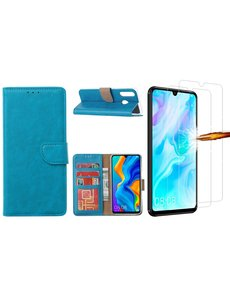 Ntech Huawei P30 Lite New Edition Hoesje / P30 Lite portemonnee hoesje Turquoise / book case met 2 pack screenprotector