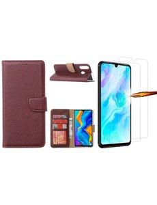 Ntech Huawei P30 Lite New Edition Hoesje / P30 Lite portemonnee hoesje Bordeaux / book case met 2 pack screenprotector