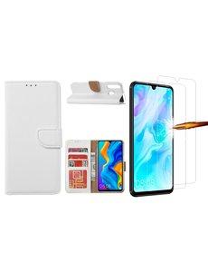 Ntech Huawei P30 Lite New Edition Hoesje / P30 Lite portemonnee hoesje Wit / book case met 2 pack screenprotector