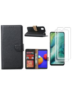 Ntech Samsung Galaxy A01 Core Hoesje met Pasjeshouder booktype case / wallet cover Zwart - Samsung Galaxy A01 Core 2 pack Screenprotector / tempered glass