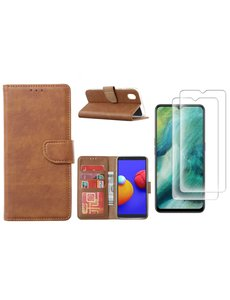 Ntech Samsung Galaxy A01 Core Hoesje met Pasjeshouder booktype case / wallet cover Bruin - Samsung Galaxy A01 Core 2 pack Screenprotector / tempered glass
