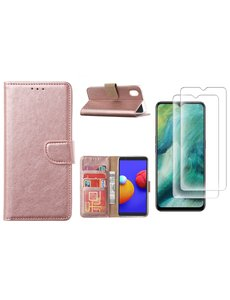 Ntech Samsung Galaxy A01 Core Hoesje met Pasjeshouder booktype case / wallet cover Rose Goud - Samsung Galaxy A01 Core 2 pack Screenprotector / tempered glass