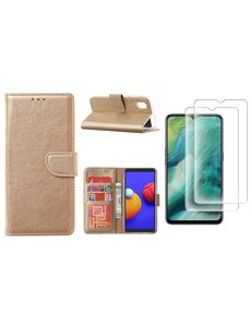 Ntech Samsung Galaxy A01 Core Hoesje met Pasjeshouder booktype case / wallet cover Goud - Samsung Galaxy A01 Core 2 pack Screenprotector / tempered glass