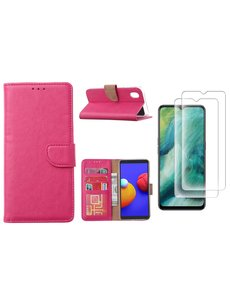 Ntech Samsung Galaxy A01 Core Hoesje met Pasjeshouder booktype case / wallet cover Pink - Samsung Galaxy A01 Core 2 pack Screenprotector / tempered glass