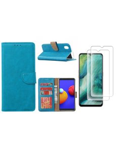 Ntech Samsung Galaxy A01 Core Hoesje met Pasjeshouder booktype case / wallet cover Turquoise - Samsung Galaxy A01 Core 2 pack Screenprotector / tempered glass