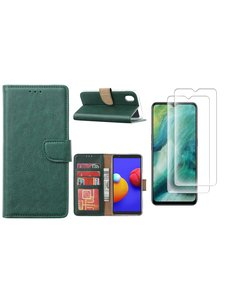 Ntech Samsung Galaxy A01 Core Hoesje met Pasjeshouder booktype case / wallet cover Groen - Samsung Galaxy A01 Core 2 pack Screenprotector / tempered glass