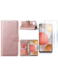 Ntech Samsung Galaxy A42 5G hoesje bookcase Rose Goud - Samsung Galaxy A42 wallet case portemonnee - A42 book case hoes cover - 2X screenprotector / tempered glass