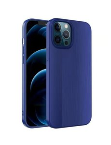 Ntech iPhone 12 / 12 Pro Hoesje Geborsteld TPU case / Brushed backcover - Blauw