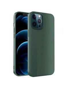 Ntech iPhone 12 / 12 Pro Hoesje Geborsteld TPU case / Brushed backcover - Groen