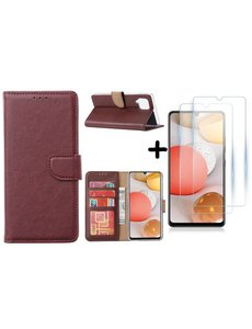 Ntech Samsung Galaxy A42 5G hoesje bookcase Bordeaux - Samsung Galaxy A42 wallet case portemonnee - A42 book case hoes cover - 2X screenprotector / tempered glass