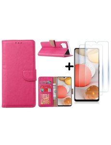 Ntech Samsung Galaxy A42 5G hoesje bookcase Pink - Samsung Galaxy A42 wallet case portemonnee - A42 book case hoes cover - 2X screenprotector / tempered glass