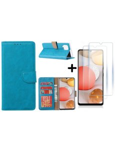 Ntech Samsung Galaxy A42 5G hoesje bookcase Turquoise - Samsung Galaxy A42 wallet case portemonnee - A42 book case hoes cover - 2X screenprotector / tempered glass
