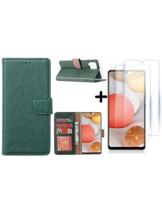 Ntech Samsung Galaxy A42 5G hoesje bookcase Groen - Samsung Galaxy A42 wallet case portemonnee - A42 book case hoes cover - 2X screenprotector / tempered glass