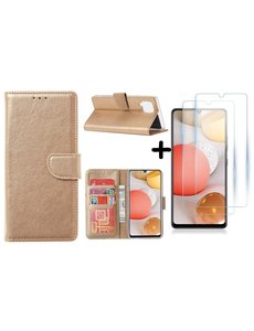 Ntech Samsung Galaxy A42 5G hoesje bookcase Goud - Samsung Galaxy A42 wallet case portemonnee - A42 book case hoes cover - 2X screenprotector / tempered glass