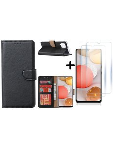Ntech Samsung Galaxy A42 5G hoesje bookcase Zwart - Samsung Galaxy A42 wallet case portemonnee - A42 book case hoes cover - 2X screenprotector / tempered glass