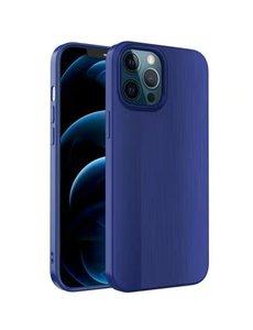 Ntech iPhone 12 Mini Hoesje Geborsteld TPU case / Brushed backcover - Blauw
