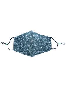 Merkloos Mondkapje wasbaar - verstelbaar - 100% Katoen - Groen - Ijskristallen