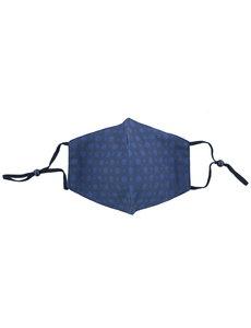 Merkloos Mondkapje wasbaar - verstelbaar - 100% Katoen met ruimte voor Filter - Donkerblauw met Blauwe bloemetjes