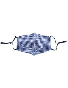 Merkloos Mondkapje wasbaar - verstelbaar - 100% Katoen met ruimte voor Filter - Wit/Blauw Patroon