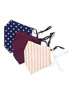 Merkloos Mondkapjes wasbaar - 100% Katoen- verstelbaar met ruimte voor Filter - 3 stuks - Donkerblauw met Polka Dots/Bordeaux Rood/Wit en Oranje strepen