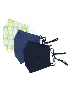 Merkloos Mondkapjes wasbaar - 100% Katoen- verstelbaar met ruimte voor Filter - 3 stuks - Groen/Donkerblauw met Blauwe bloemtjes/Zwart