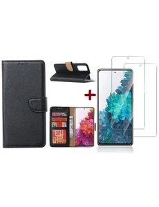 Ntech Samsung S20 FE hoesje - bookcase Zwart - Samsung Galaxy S20 FE wallet case portemonnee hoesje - S20 FE book case hoes cover Met 2X screenprotector / tempered glass