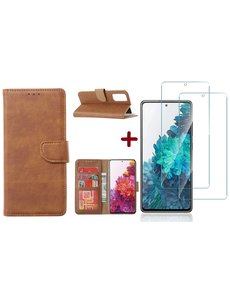 Ntech Samsung S20 FE hoesje - bookcase Bruin - Samsung Galaxy S20 FE wallet case portemonnee hoesje - S20 FE book case hoes cover Met 2X screenprotector / tempered glass