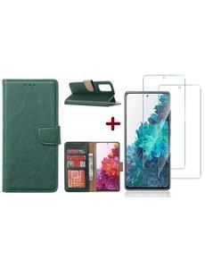 Ntech Samsung S20 FE hoesje - bookcase Groen - Samsung Galaxy S20 FE wallet case portemonnee hoesje - S20 FE book case hoes cover Met 2X screenprotector / tempered glass