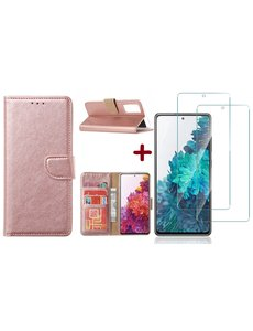Ntech Samsung S20 FE hoesje - bookcase Rose Goud - Samsung Galaxy S20 FE wallet case portemonnee hoesje - S20 FE book case hoes cover Met 2X screenprotector / tempered glass