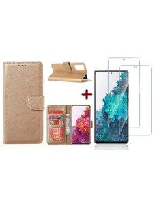 Ntech Samsung S20 FE hoesje - bookcase Goud - Samsung Galaxy S20 FE wallet case portemonnee hoesje - S20 FE book case hoes cover Met 2X screenprotector / tempered glass