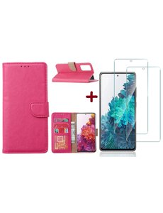 Ntech Samsung S20 FE hoesje - bookcase Pink - Samsung Galaxy S20 FE wallet case portemonnee hoesje - S20 FE book case hoes cover Met 2X screenprotector / tempered glass