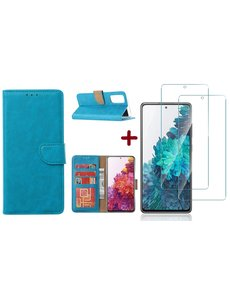 Ntech Samsung S20 FE hoesje - bookcase Turquoise - Samsung Galaxy S20 FE wallet case portemonnee hoesje - S20 FE book case hoes cover Met 2X screenprotector / tempered glass