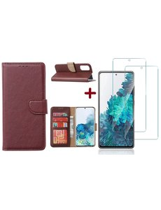 Ntech Samsung S20 FE hoesje - bookcase Bordeaux - Samsung Galaxy S20 FE wallet case portemonnee hoesje - S20 FE book case hoes cover Met 2X screenprotector / tempered glass