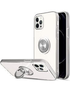 Ntech iPhone 12 Pro Max hoesje Luxe Backcover case  metalen Ring houder - Transparant