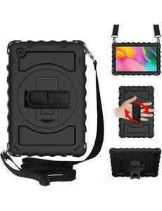 Ntech Samsung Galaxy Tab A7 Hoesje Kids Case - Tab A7 10.4 (2020) Robuuste Hybride Armor met Handband - Zwart