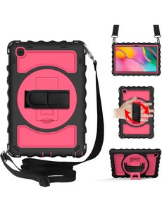 Ntech Samsung Galaxy Tab A7 Hoesje Kids Case - Tab A7 10.4 (2020) Robuuste Hybride Armor met Handband - Zwart / Pink