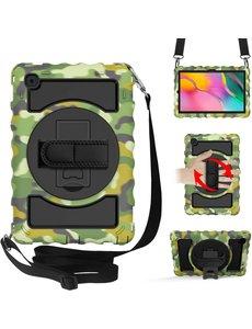 Ntech Samsung Galaxy Tab A7 Hoesje Kids Case - Tab A7 10.4 (2020) Robuuste Hybride Armor met Handband - Camouflage Groen