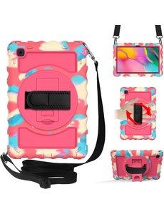 Ntech Samsung Galaxy Tab A7 Hoesje Kids Case - Tab A7 10.4 (2020) Robuuste Hybride Armor met Handband - Camouflage Pink