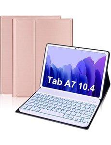 Ntech Samsung Galaxy Tab A7 Toetsenbord Hoes 10.4 (2020) Bluetooth Keyboard hoesje voor Tab A7 2020 - Rose Goud