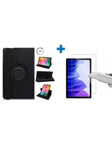 Ntech Samsung Galaxy Tab A7 Hoes - 360 graden draaibaar case - Zwart + screenprotector gehard glas