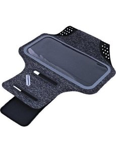 Ntech Sportarmband Fabric/Stof met Sleutelhouder voor Samsung Galaxy S21 Plus, S21 Ultra - Zwart/Grijs