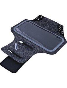 Ntech Sportarmband Fabric/Stof met Sleutelhouder voor Samsung Galaxy S21, A52, A72, A12, - Zwart/Grijs