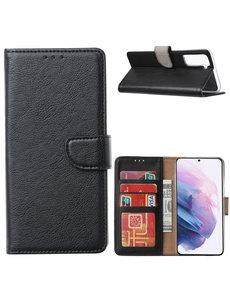 Ntech Samsung Galaxy S21 Ultra Hoesje - Samsung S21 Portemonnee bookcase met Pasjeshouder - Zwart