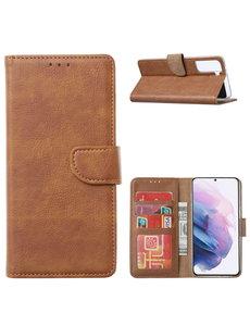 Ntech Samsung Galaxy S21 Ultra Hoesje - Samsung S21 Ultra Portemonnee bookcase met Pasjeshouder - Bruin