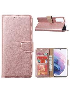 Ntech Samsung Galaxy S21 Ultra Hoesje - Samsung S21 Ultra Portemonnee bookcase met Pasjeshouder - Rose Goud